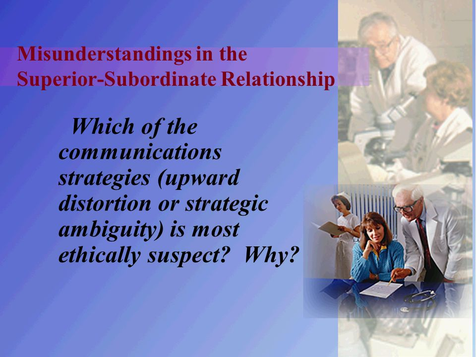 Misunderstandings in the Superior-Subordinate Relationship Which of the communications strategies (upward distortion or strategic ambiguity) is most e