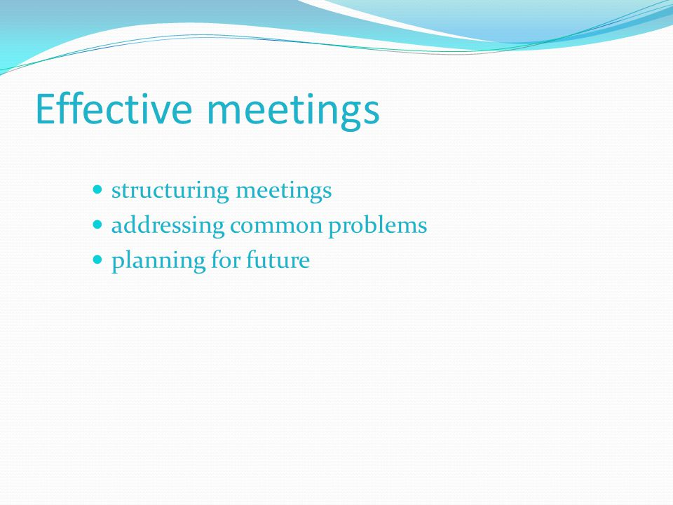Effective meetings structuring meetings addressing common problems planning for future