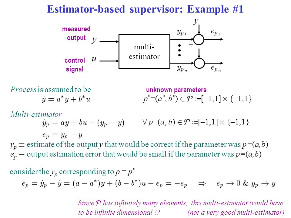 Estimator-based supervisor: Example #1 multi- estimator u measured output control signal y y – + – + Since  has infinitely many elements, this multi-estimator would have to be infinite dimensional !?(not a very good multi-estimator) Process is assumed to be unknown parameters Multi-estimator p * =(a *, b * ) 2  › [–1,1] £ {–1,1} 8 p=(a, b) 2  › [–1,1] £ {–1,1} y p ´ estimate of the output y that would be correct if the parameter was p=(a,b) e p ´ output estimation error that would be small if the parameter was p=(a,b) consider the y p corresponding to p = p *