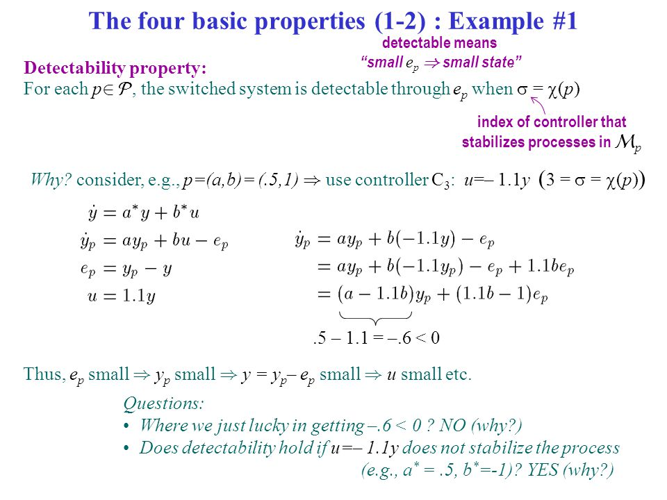 The four basic properties (1-2) : Example #1 Detectability property: For each p 2 , the switched system is detectable through e p when  =  (p) inde
