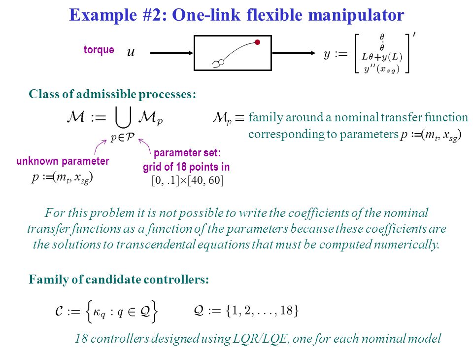 Example #2: One-link flexible manipulator Class of admissible processes: u torque unknown parameter p › (m t, x sg ) parameter set: grid of 18 points