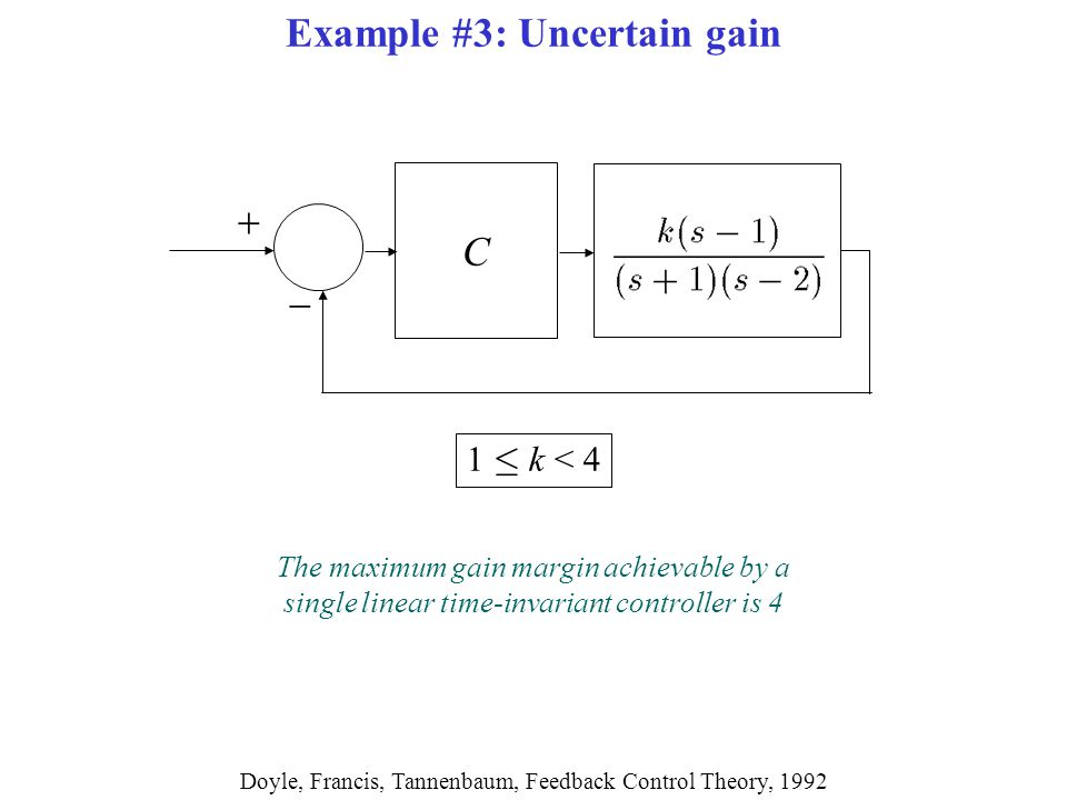   C Doyle, Francis, Tannenbaum, Feedback Control Theory, 1992 Example #3: Uncertain gain The maximum gain margin achievable by a single linear time-