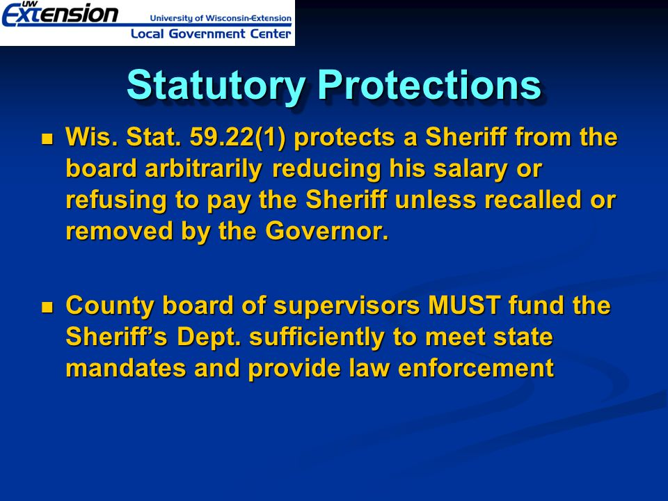 Statutory Protections Wis. Stat.