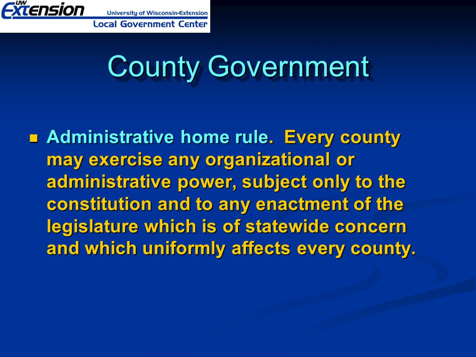 County Government Administrative home rule.