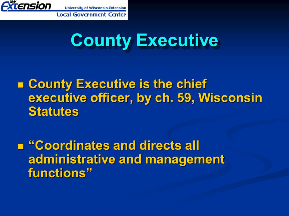 County Executive County Executive is the chief executive officer, by ch.
