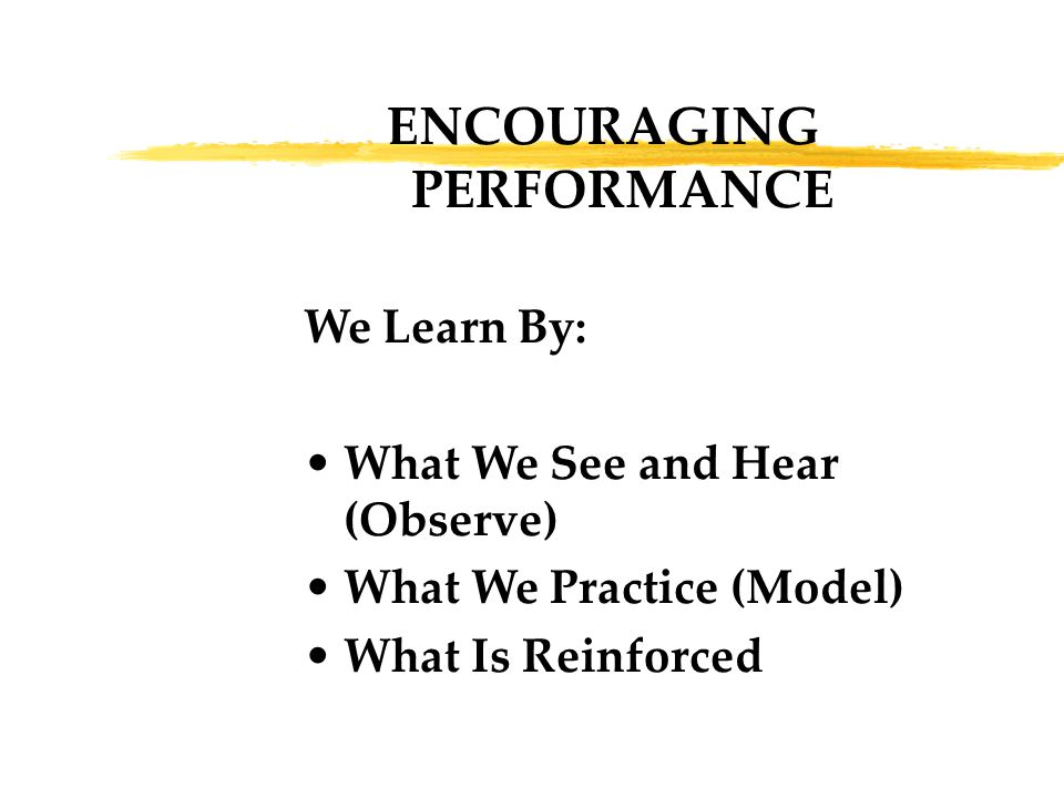 ENCOURAGING PERFORMANCE We Learn By: What We See and Hear (Observe) What We Practice (Model) What Is Reinforced