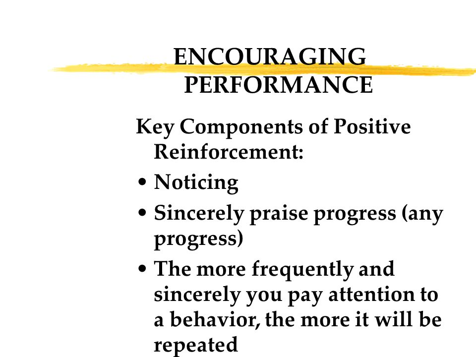ENCOURAGING PERFORMANCE Key Components of Positive Reinforcement: Noticing Sincerely praise progress (any progress) The more frequently and sincerely you pay attention to a behavior, the more it will be repeated