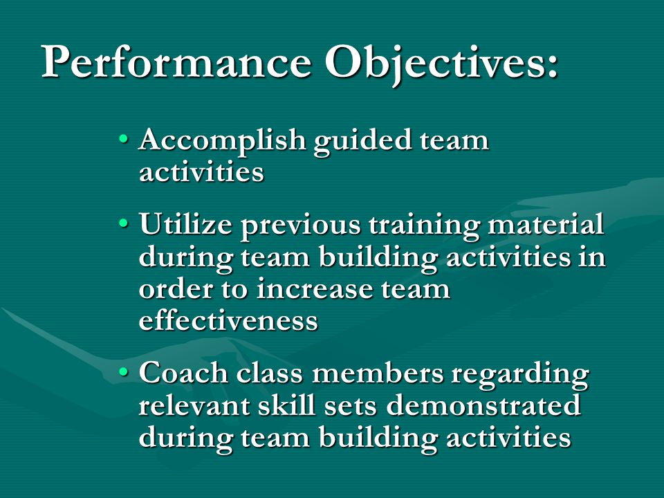 Accomplish guided team activitiesAccomplish guided team activities Utilize previous training material during team building activities in order to incr