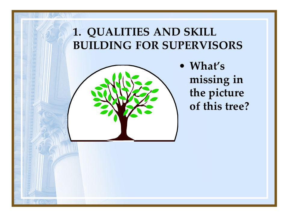 1. QUALITIES AND SKILL BUILDING FOR SUPERVISORS What's missing in the picture of this tree?