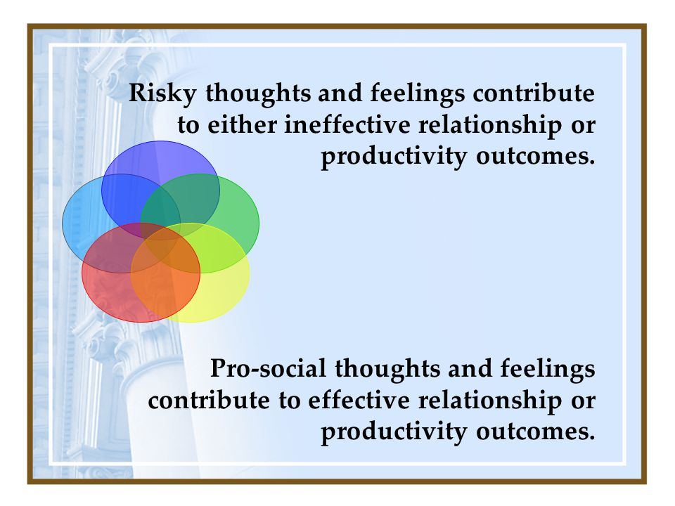 Risky thoughts and feelings contribute to either ineffective relationship or productivity outcomes.