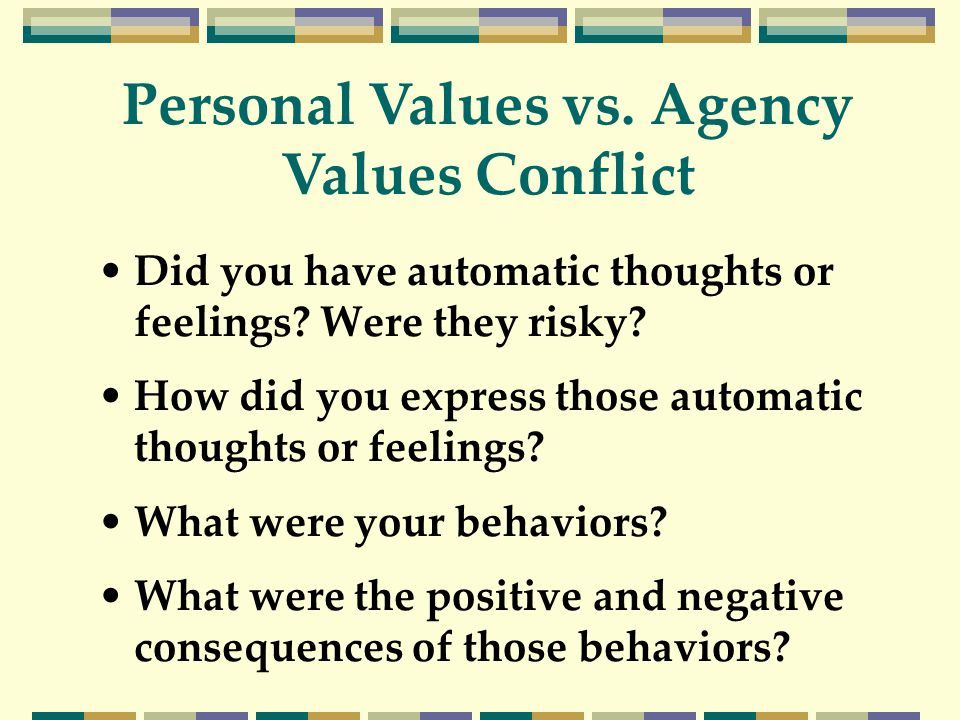 Did you have automatic thoughts or feelings? Were they risky? How did you express those automatic thoughts or feelings? What were your behaviors? What