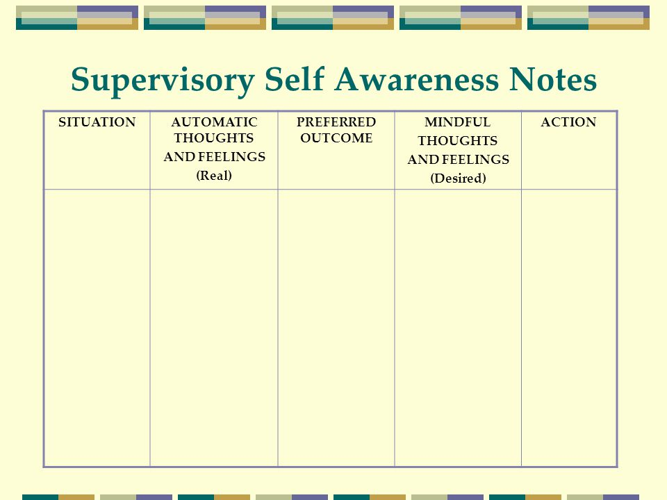 Supervisory Self Awareness Notes SITUATIONAUTOMATIC THOUGHTS AND FEELINGS (Real) PREFERRED OUTCOME MINDFUL THOUGHTS AND FEELINGS (Desired) ACTION