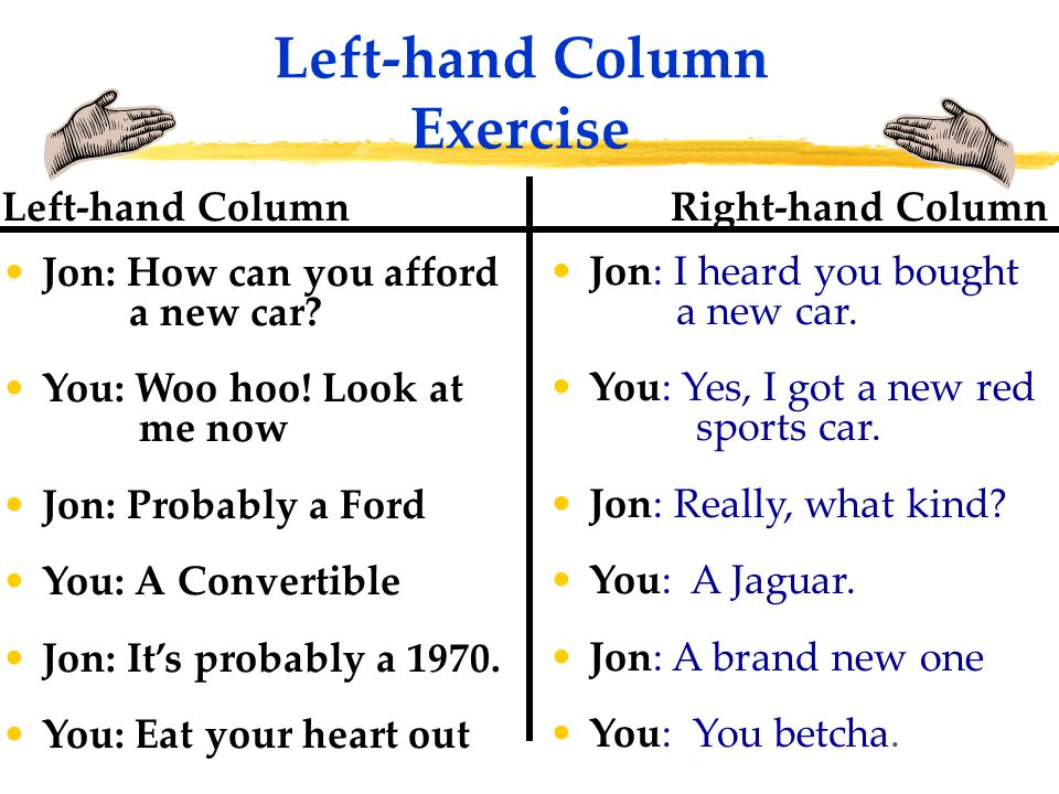 Left-hand Column Exercise Right-hand Column Jon: I heard you bought a new car.