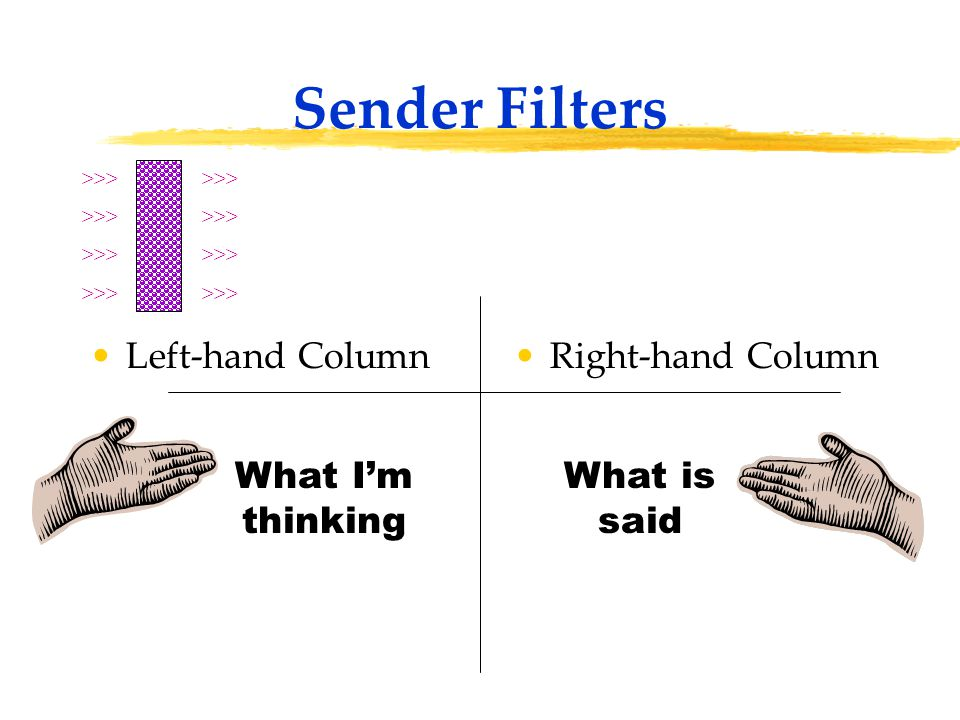 Sender Filters Left-hand ColumnRight-hand Column >>> What I'm thinking What is said