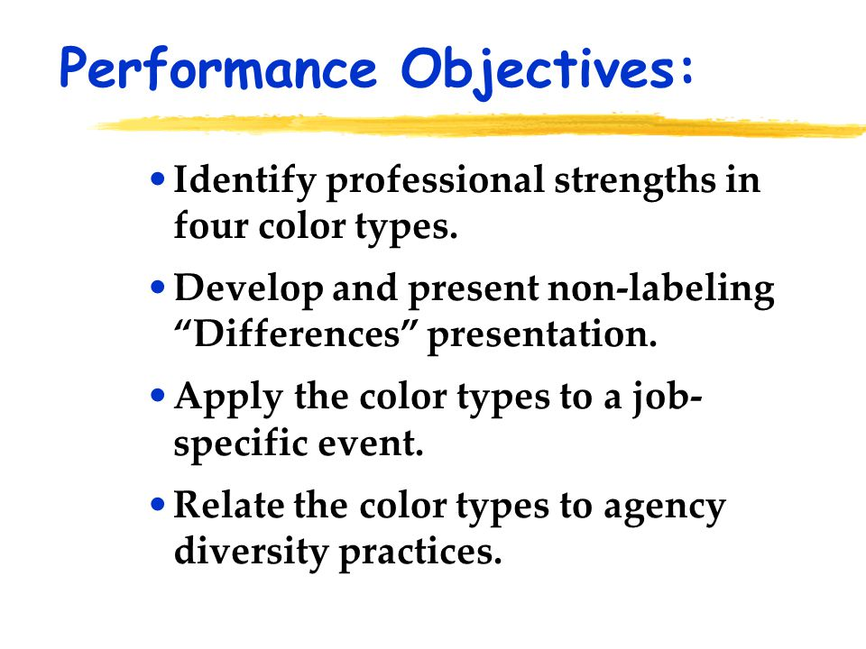 "Identify professional strengths in four color types. Develop and present non-labeling ""Differences"" presentation. Apply the color types to a job- spec"