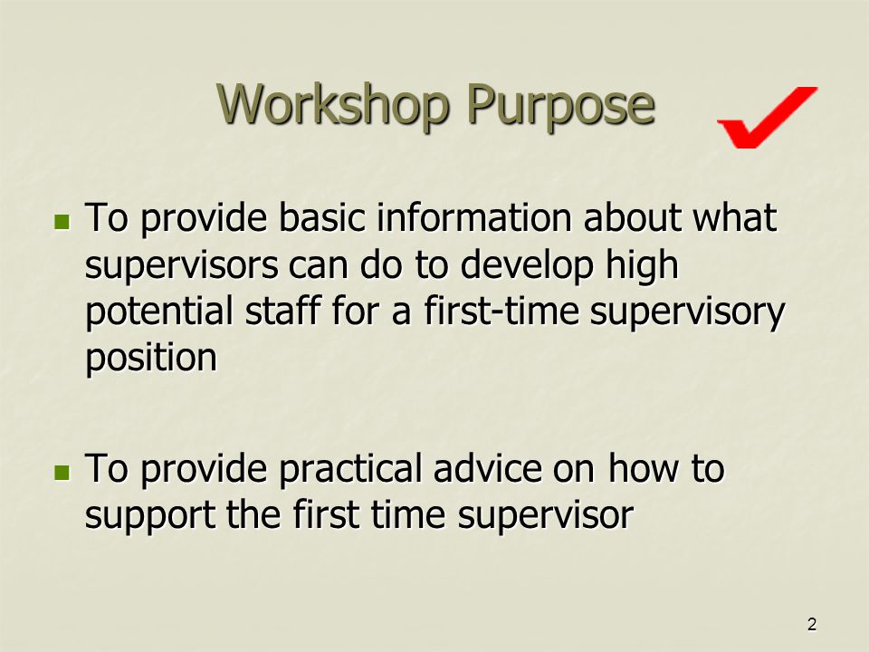2 Workshop Purpose To provide basic information about what supervisors can do to develop high potential staff for a first-time supervisory position To provide basic information about what supervisors can do to develop high potential staff for a first-time supervisory position To provide practical advice on how to support the first time supervisor To provide practical advice on how to support the first time supervisor