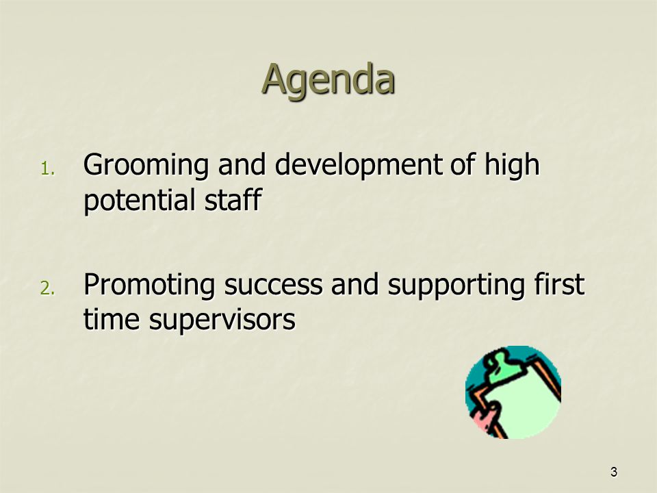 3 Agenda 1. Grooming and development of high potential staff 2.