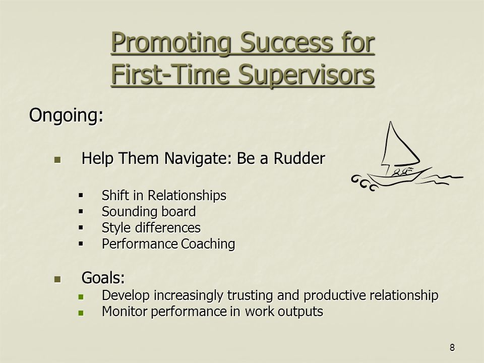 8 Promoting Success for First-Time Supervisors Ongoing: Help Them Navigate: Be a Rudder Help Them Navigate: Be a Rudder  Shift in Relationships  Sounding board  Style differences  Performance Coaching Goals: Goals: Develop increasingly trusting and productive relationship Develop increasingly trusting and productive relationship Monitor performance in work outputs Monitor performance in work outputs