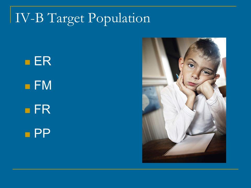 IV-B Target Population ER FM FR PP
