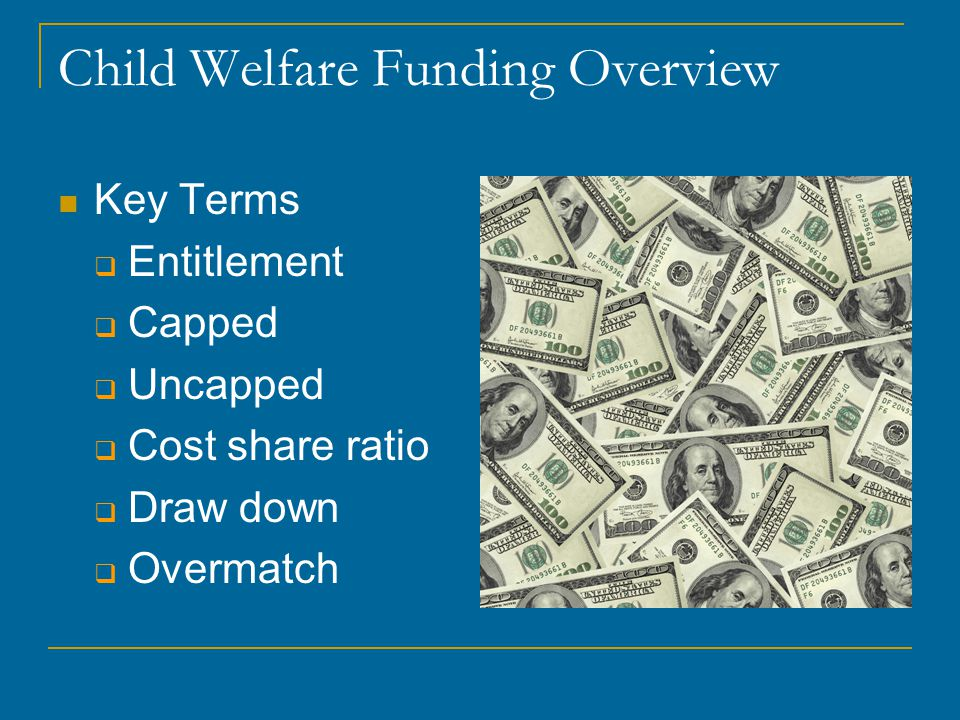 Child Welfare Funding Overview Key Terms  Entitlement  Capped  Uncapped  Cost share ratio  Draw down  Overmatch
