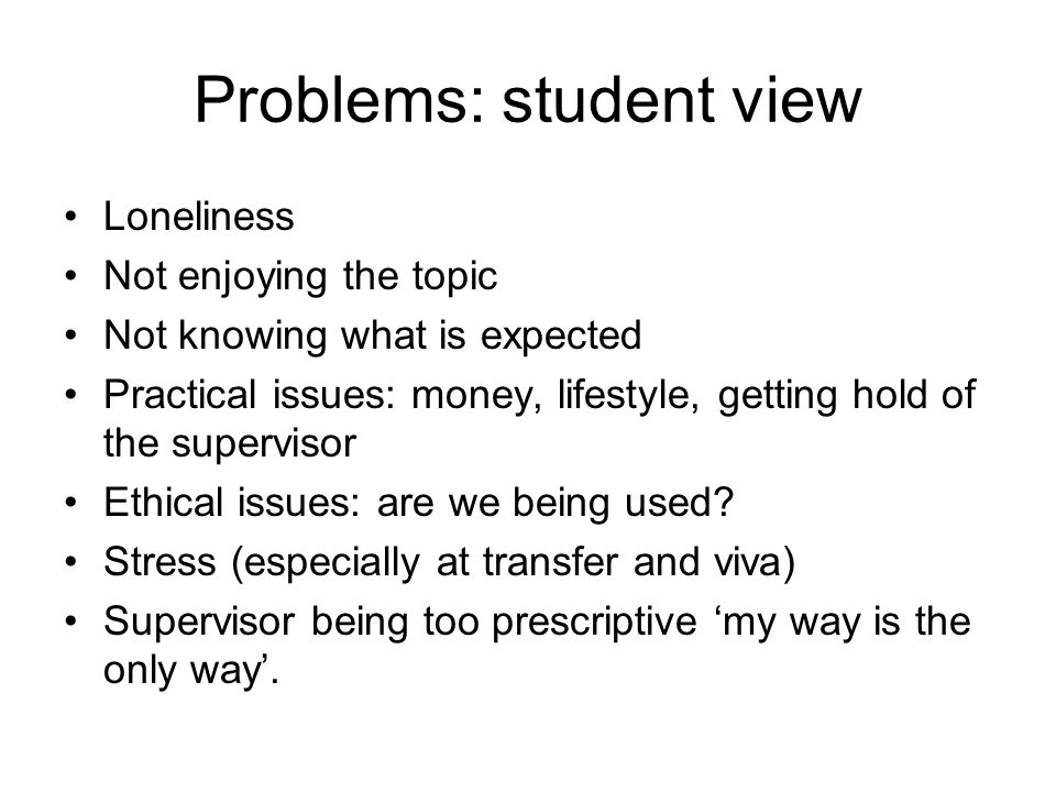 Problems: student view Loneliness Not enjoying the topic Not knowing what is expected Practical issues: money, lifestyle, getting hold of the supervis
