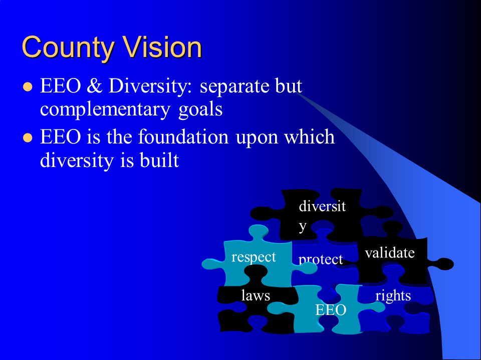 County Vision EEO & Diversity: separate but complementary goals EEO is the foundation upon which diversity is built validate EEO rights protect respec