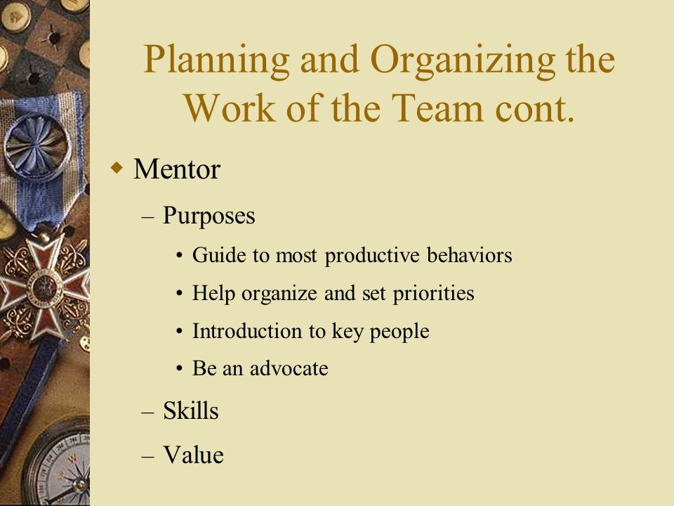 Planning and Organizing the Work of the Team cont.  Mentor – Purposes Guide to most productive behaviors Help organize and set priorities Introductio