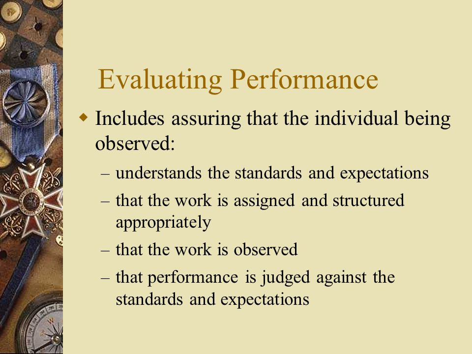 Evaluating Performance  Includes assuring that the individual being observed: – understands the standards and expectations – that the work is assigne