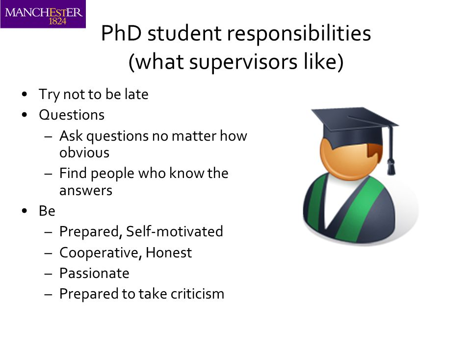 PhD student responsibilities (what supervisors like) Try not to be late Questions –Ask questions no matter how obvious –Find people who know the answers Be –Prepared, Self-motivated –Cooperative, Honest –Passionate –Prepared to take criticism