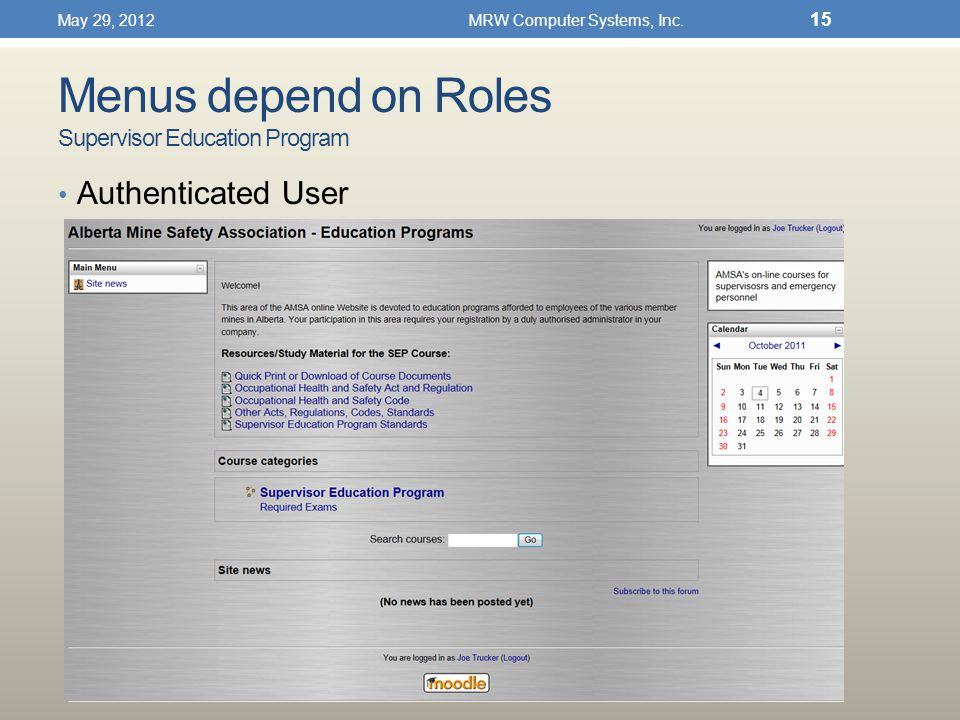 Menus depend on Roles Supervisor Education Program Authenticated User May 29, 2012MRW Computer Systems, Inc.
