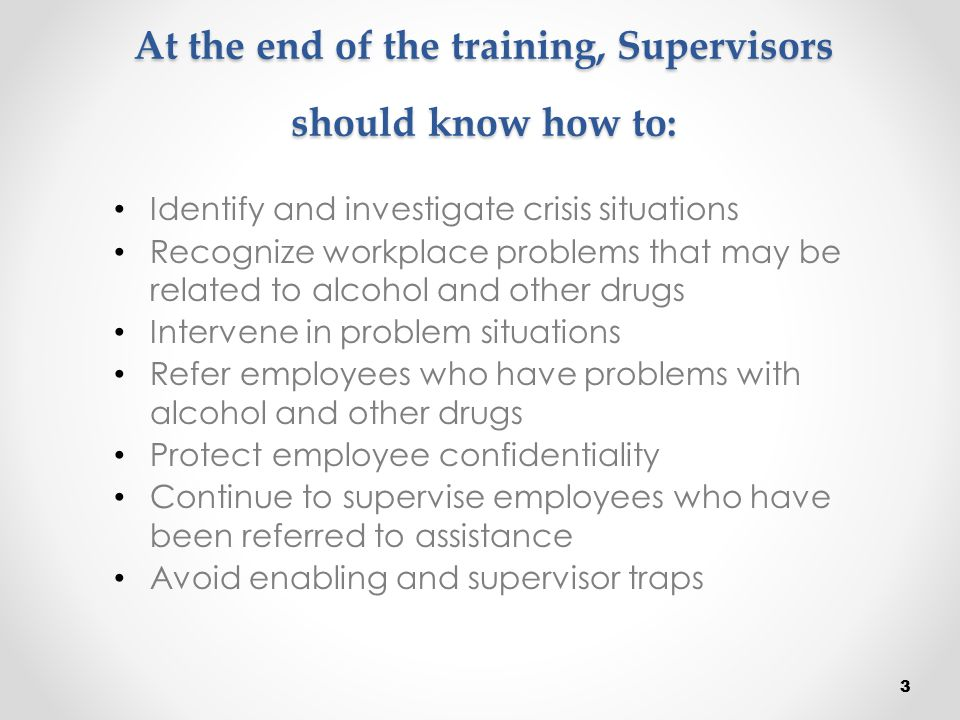 At the end of the training, Supervisors should know how to: Identify and investigate crisis situations Recognize workplace problems that may be relate