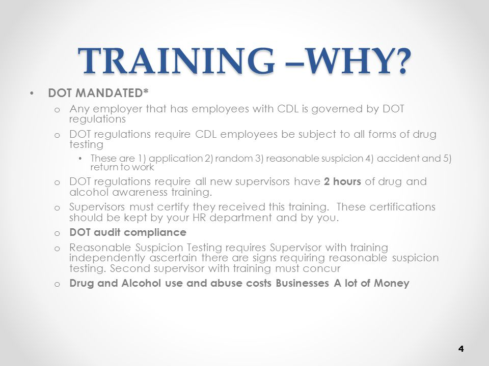 Cost of Drug Abuse INCREASED COSTS IS THE BOTTOM LINE Loss of Productivity and efficiency o $100B per year Higher absenteeism, illness, tardiness, injuries Frequent turnover, increased training expense Lost productivity, reduced quality Higher accidents / errors on the job Increased health costs Reduced sales Lost customer confidence All the of above amounts to higher costs or lower revenues 5