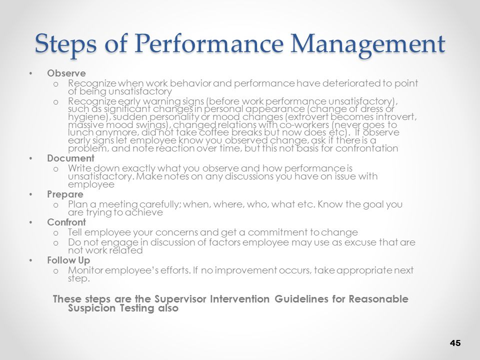 Steps of Performance Management Observe o Recognize when work behavior and performance have deteriorated to point of being unsatisfactory o Recognize