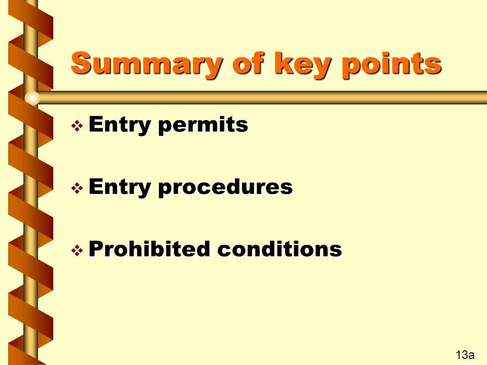 Summary of key points v Entry permits v Entry procedures v Prohibited conditions 13a