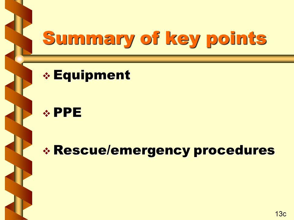 Summary of key points v Equipment v PPE v Rescue/emergency procedures 13c