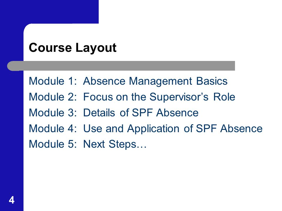 4 Course Layout Module 1: Absence Management Basics Module 2: Focus on the Supervisor's Role Module 3: Details of SPF Absence Module 4: Use and Applic
