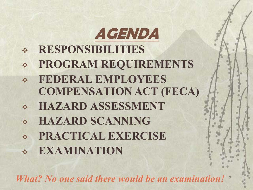 2 AGENDA  RESPONSIBILITIES  PROGRAM REQUIREMENTS  FEDERAL EMPLOYEES COMPENSATION ACT (FECA)  HAZARD ASSESSMENT  HAZARD SCANNING  PRACTICAL EXERCISE  EXAMINATION What.