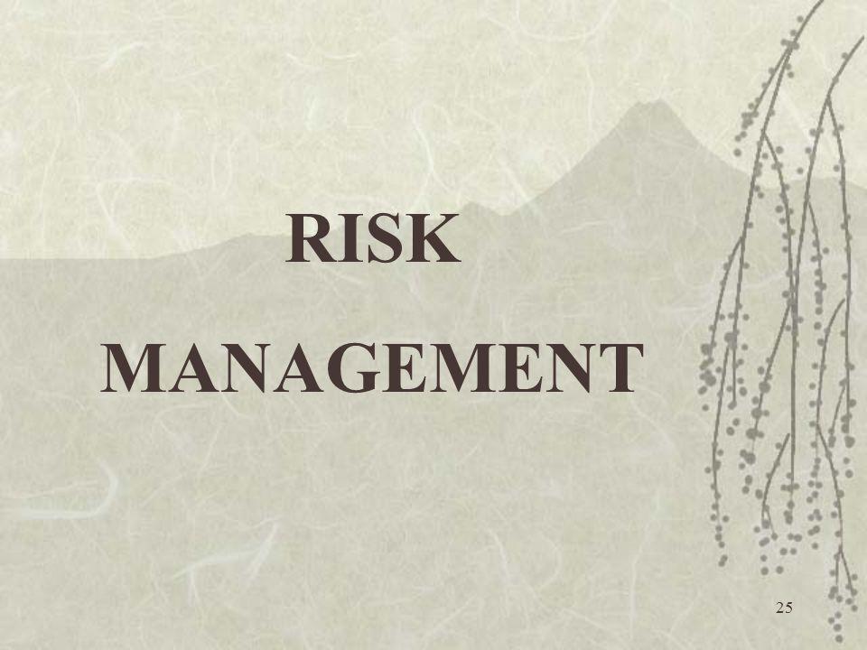 25 RISK MANAGEMENT