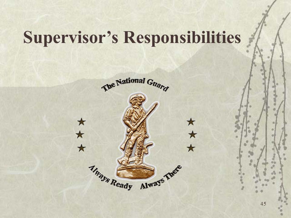 45 Supervisor's Responsibilities