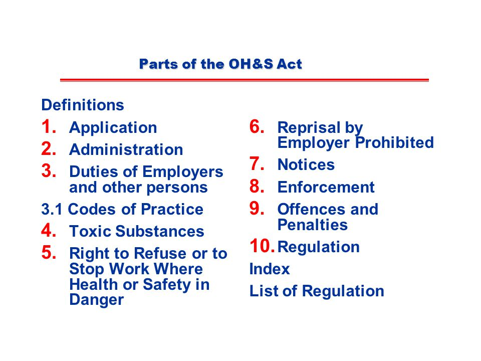 Parts of the OH&S Act Definitions 1.Application 2.