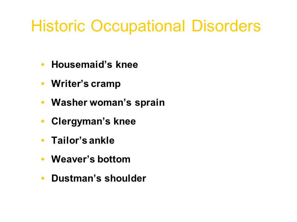 Historic Occupational Disorders  Housemaid's knee  Writer's cramp  Washer woman's sprain  Clergyman's knee  Tailor's ankle  Weaver's bottom  Dustman's shoulder