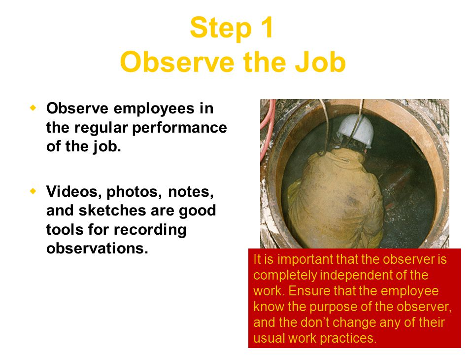 Step 1 Observe the Job  Observe employees in the regular performance of the job.