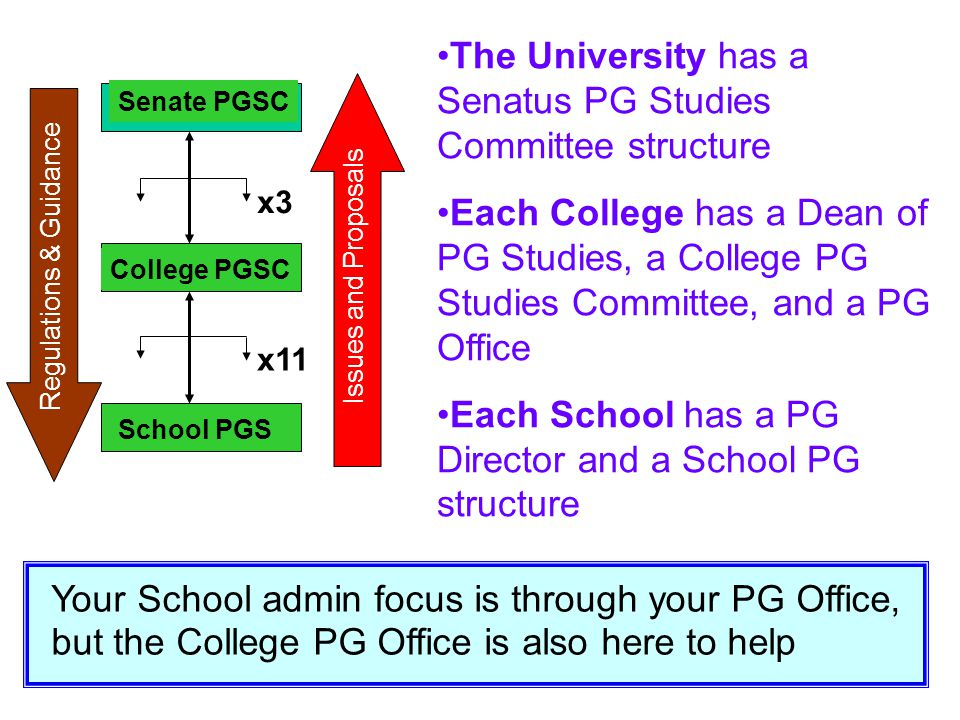 The University has a Senatus PG Studies Committee structure Each College has a Dean of PG Studies, a College PG Studies Committee, and a PG Office Eac