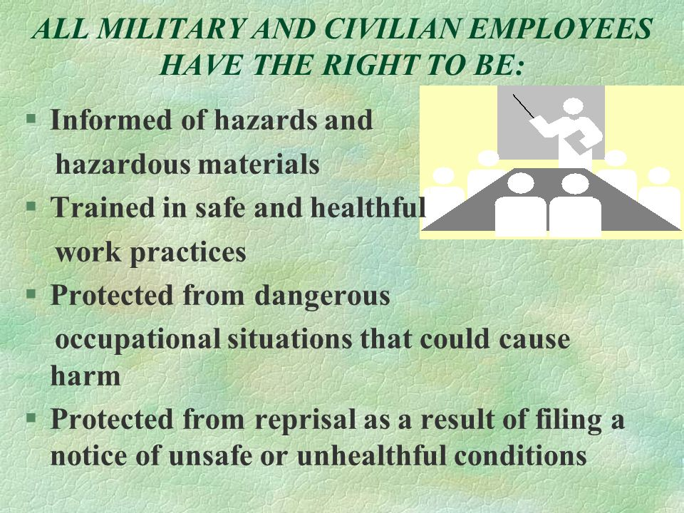 ALL MILITARY AND CIVILIAN EMPLOYEES HAVE THE RIGHT TO BE: §Informed of hazards and hazardous materials  Trained in safe and healthful work practices §Protected from dangerous occupational situations that could cause harm §Protected from reprisal as a result of filing a notice of unsafe or unhealthful conditions