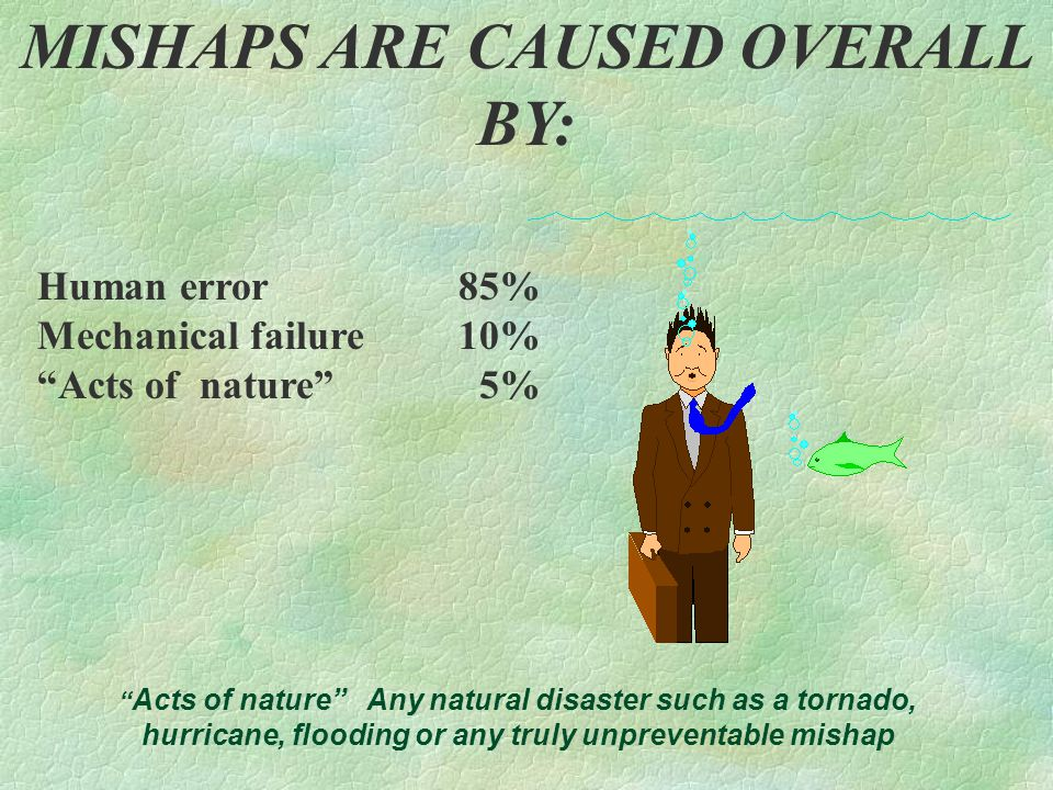 """MISHAPS ARE CAUSED OVERALL BY: Human error 85% Mechanical failure 10% """"Acts of nature"""" 5% """" Acts of nature"""" Any natural disaster such as a tornado, hu"""