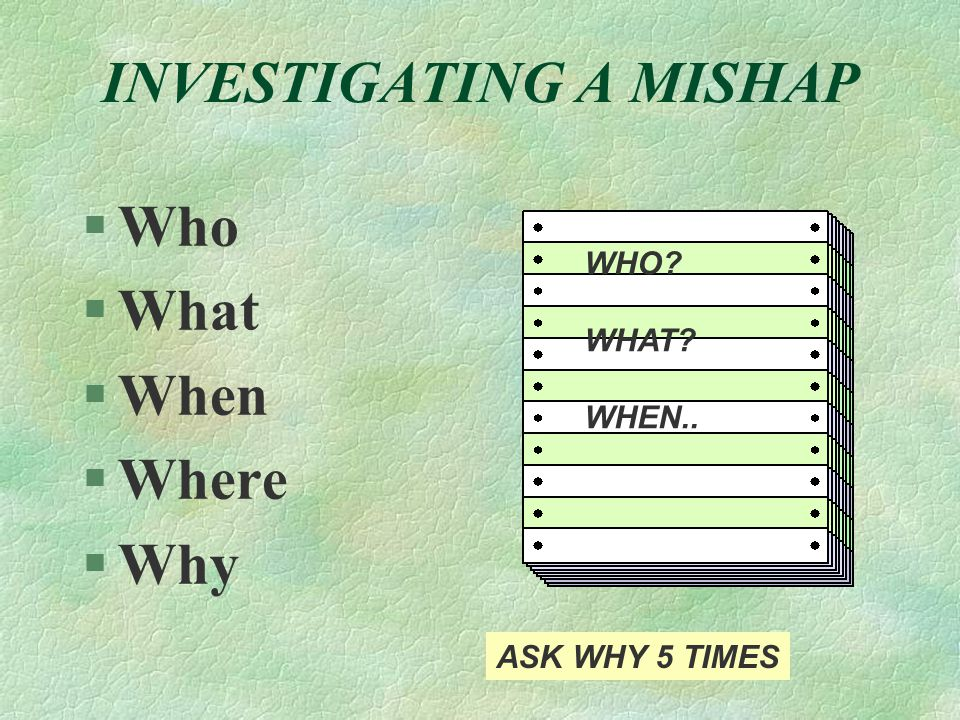 INVESTIGATING A MISHAP §Who §What §When §Where §Why WHO WHAT WHEN.. ASK WHY 5 TIMES