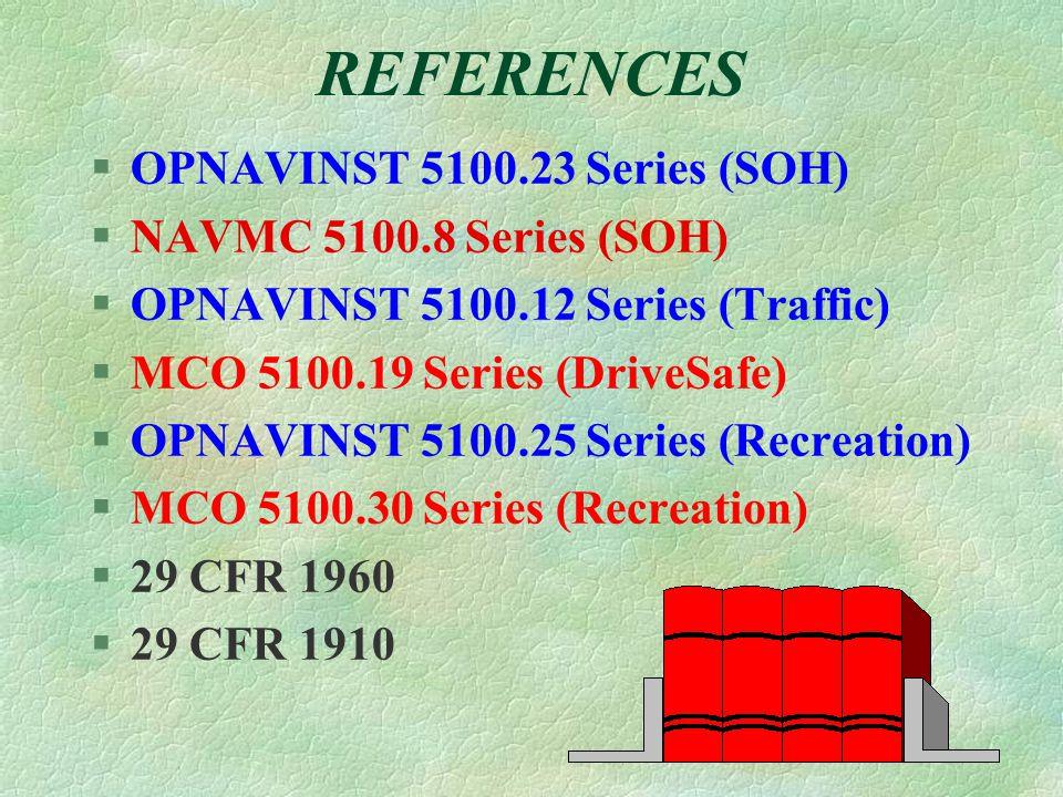 REFERENCES §OPNAVINST 5100.23 Series (SOH) §NAVMC 5100.8 Series (SOH) §OPNAVINST 5100.12 Series (Traffic) §MCO 5100.19 Series (DriveSafe) §OPNAVINST 5