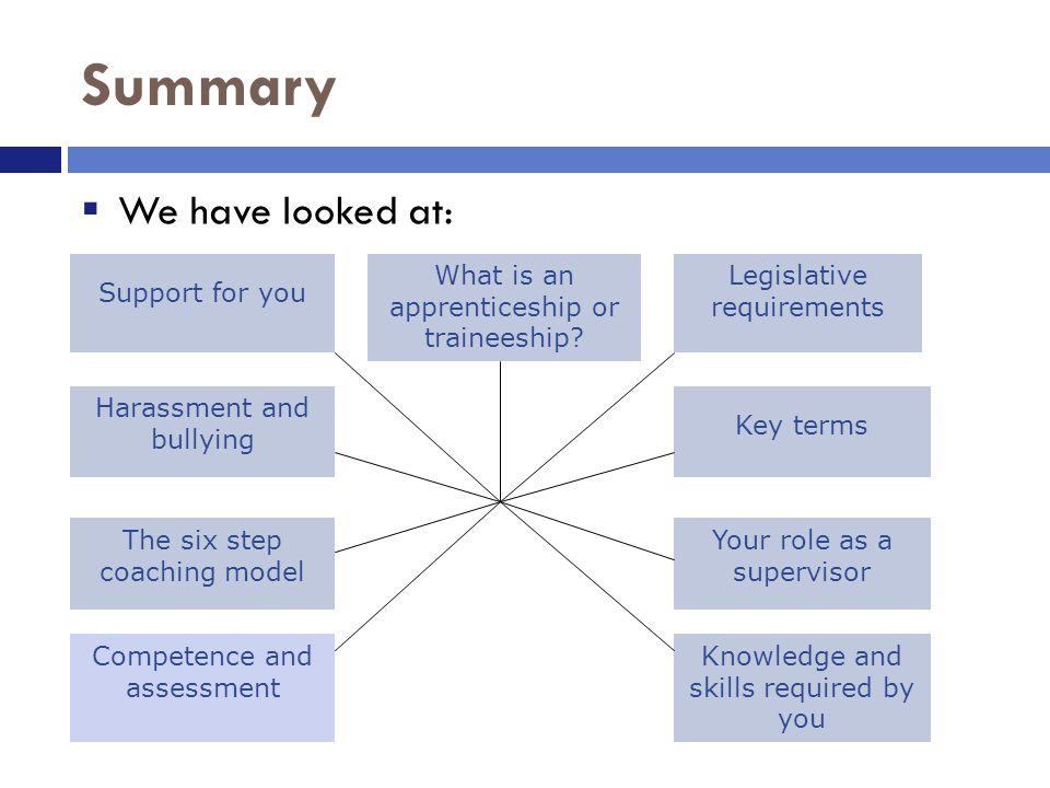 Summary  We have looked at: Support for you Harassment and bullying What is an apprenticeship or traineeship.
