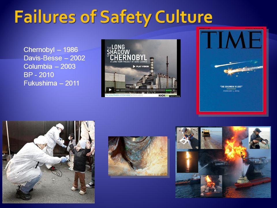Chernobyl – 1986 Davis-Besse – 2002 Columbia – 2003 BP - 2010 Fukushima – 2011