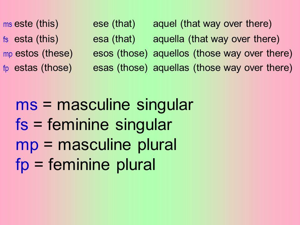 ms = masculine singular fs = feminine singular mp = masculine plural fp = feminine plural ms este (this)ese (that)aquel (that way over there) fs esta (this)esa (that)aquella (that way over there) mp estos (these)esos (those)aquellos (those way over there) fp estas (those)esas (those)aquellas (those way over there)